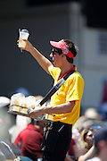 ANAHEIM, CA - AUGUST 12:  A mobile food vendor sells lemonade before the Los Angeles Angels of Anaheim game against the Seattle Mariners on Sunday, August 12, 2012 at Angel Stadium in Anaheim, California. The Mariners won the game 4-1. (Photo by Paul Spinelli/MLB Photos via Getty Images)