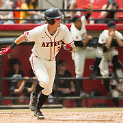 15 April 2018: San Diego State infielder Jordan Verdon (21) hits a single in the third inning against the Titans. The San Diego State baseball team closed out the weekend series against Cal State Fullerton with a 9-6 win at Tony Gwynn Stadium. <br /> More game action at sdsuaztecphotos.com