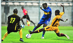 Cape Town-180220 Cape Town City striker Judas Moseamedi challenged by Sihlangu  Mkhwanazi of Young Buffaloes from Swaziland in a second leg of the CAF confederations game at Athlone stadium .City is leading 1-0 on aggregate after winning 1-0 away two weeks back in Swaziland.photograph:Phando Jikelo/African News Agency/ANA