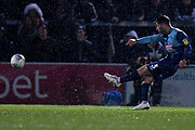 Wycombe Wanderers defender Joe Jacobson (3) takes a free kick during the EFL Sky Bet League 1 match between Wycombe Wanderers and Doncaster Rovers at Adams Park, High Wycombe, England on 23 November 2019.