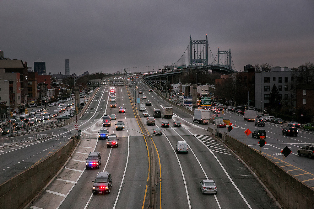 QUEENS, NY - DECEMBER 6, 2016:   President-elect Donald J. Trump's motorcade  comes off the Robert F. Kennedy Bridge as it heads to LaGuardia Airport in Queens, New York. CREDIT: Sam Hodgson for The New York Times.
