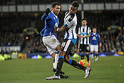 Aaron Lennon (Everton) is fouled by Rolando Aarons (Newcastle United), conceding the first penalty during the Barclays Premier League match between Everton and Newcastle United at Goodison Park, Liverpool, England on 3 February 2016. Photo by Mark P Doherty.