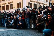 Giornalisti in piazza Montecitorio. Deputati del Movimento 5 Stelle festeggiano l'approvazione della riforma costituzionale che prevede il taglio dei parlamentari. Roma 08 Febbraio 2019. Christian Mantuano / OneShot