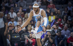 March 19, 2018 - Sacramento, CA, USA - Sacramento Kings guard Vince Carter (15) celebrates after he hits a three point basket that put him ahead of Patrick Ewing for 22nd place on the NBA's all-time scoring list against the Detroit Pistons during their game at the Golden 1 Center Monday, March 19, 2018 in Sacramento, Calif. The Pistons won, 106-90. (Credit Image: © Hector Amezcua/TNS via ZUMA Wire)