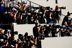 Photographers during the day nine of the 12th IAAF World Athletics Championships at the Olympic Stadium on August 23, 2009 in Berlin, Germany. (Photo by Vid Ponikvar / Sportida)