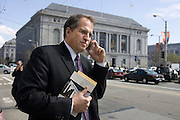 Jordan Lawrence of the Alliance Defense Fund outside the California Supreme Court after the 3 hour hearing on the legality of Proposition 8. Protestors from both sides crowded the sidewalk spilling onto McAllister Street...photo by Jason Doiy.3-5-09.