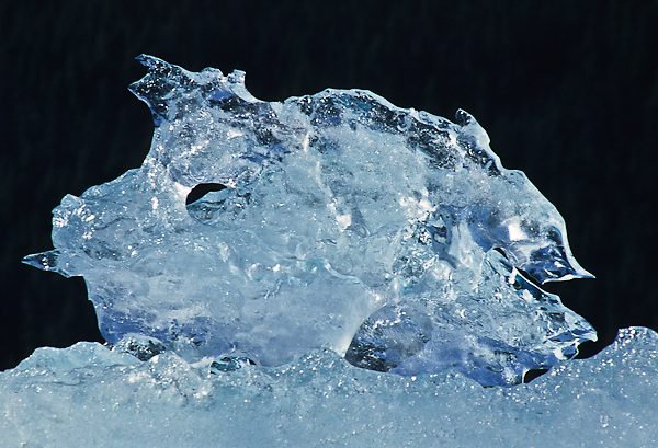 Ice formation on the top of an iceberg in Holkham Bay, Alaska.