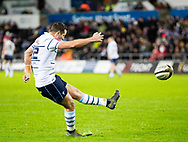 Jason Tovey of Cardiff Blues converts<br /> <br /> Photographer Simon King/Replay Images<br /> <br /> Guinness PRO14 Round 8 - Ospreys v Cardiff Blues - Saturday 21st December 2019 - Liberty Stadium - Swansea<br /> <br /> World Copyright © Replay Images . All rights reserved. info@replayimages.co.uk - http://replayimages.co.uk
