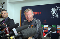 Sir Alex Ferguson Manager Manchester United 2010/11 prepares to anwser some awkward questions from the media at today's Press Conference at Carrington Training facilitiy in preparation for the Champions League Final 24/05/11<br />