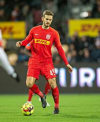 Kian Hansen (FC Nordsjælland) under kampen i 3F Superligaen mellem FC Nordsjælland og FC København den 8. december 2019 i Right to Dream Park, Farum (Foto: Claus Birch).