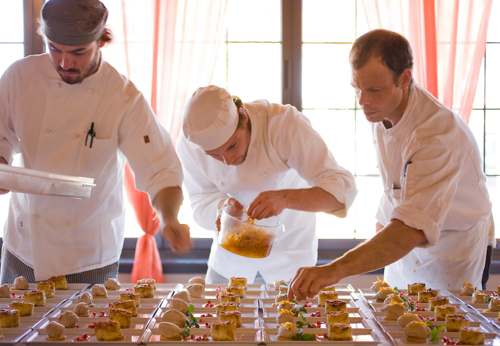 client: personal, Sidney Street Cafe's Kevin Nashan (on right) and crew plating dessert for a Ruth Riechel dinner