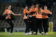Suzie Bates of Southern Vipers is congratulated by team mates as she restricted Yorkshire Diamonds to four runs in the final over during the Women's Cricket Super League match between Southern Vipers and Yorkshire Diamonds at the Ageas Bowl, Southampton, United Kingdom on 21 August 2019.