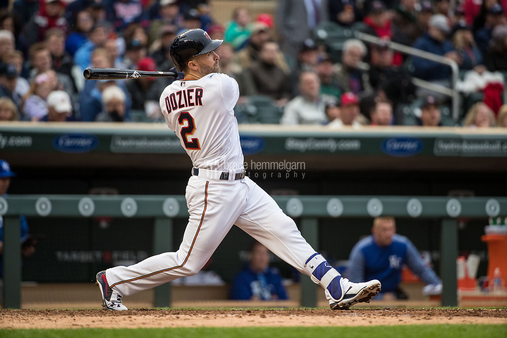 MINNEAPOLIS, MN- APRIL 3: Brian Dozier #2 of the Minnesota Twins bats against the Kansas City Royals on April 3, 2017 at Target Field in Minneapolis, Minnesota. The Twins defeated the Royals 7-1. (Photo by Brace Hemmelgarn) *** Local Caption *** Brian Dozier