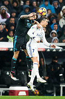 Real Sociedad's defender Inigo Martinez and Real Madrid's forward Cristiano Ronaldo during the match of La Liga between Real Madrid and   Real Sociedad at Santiago Bernabeu Stadium in Madrid, Spain. January 29th 2017. (ALTERPHOTOS/Rodrigo Jimenez)