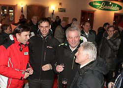 08.02.2013, Landalm, Rohrmoos-Untertal, AUT, FIS Weltmeisterschaften Ski Alpin, Empfang durch Landeshauptmann Franz Voves, Steiermark, im Bild Franz Voves, Landeshauptmann der Steiermark, Markus Wallner, Landeshauptmann von Vorarlberg, Hermann Schuetzenhoefer, Landeshauptmann-Stellvertreter der Steiermark und Josef Pühringer, Landeshauptmann von Oberoesterreich // Franz Voves, governor of Styria, Markus Wallner, governor of Vorarlberg, Hermann Schuetzenhoefer, vice governor of Styria and Josef Pühringer, governor of Upper Austria at a receiving from governor Franz Voves, Styria, during FIS Ski World Championships 2013 at the Landalm, Rohrmoos-Untertal, Austria on 2013/02/08. EXPA Pictures © 2013, PhotoCredit: EXPA/ Martin Huber