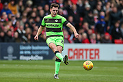 Forest Green Rovers Paul Digby(20) passes the ball forward during the EFL Sky Bet League 2 match between Lincoln City and Forest Green Rovers at Sincil Bank, Lincoln, United Kingdom on 3 November 2018.