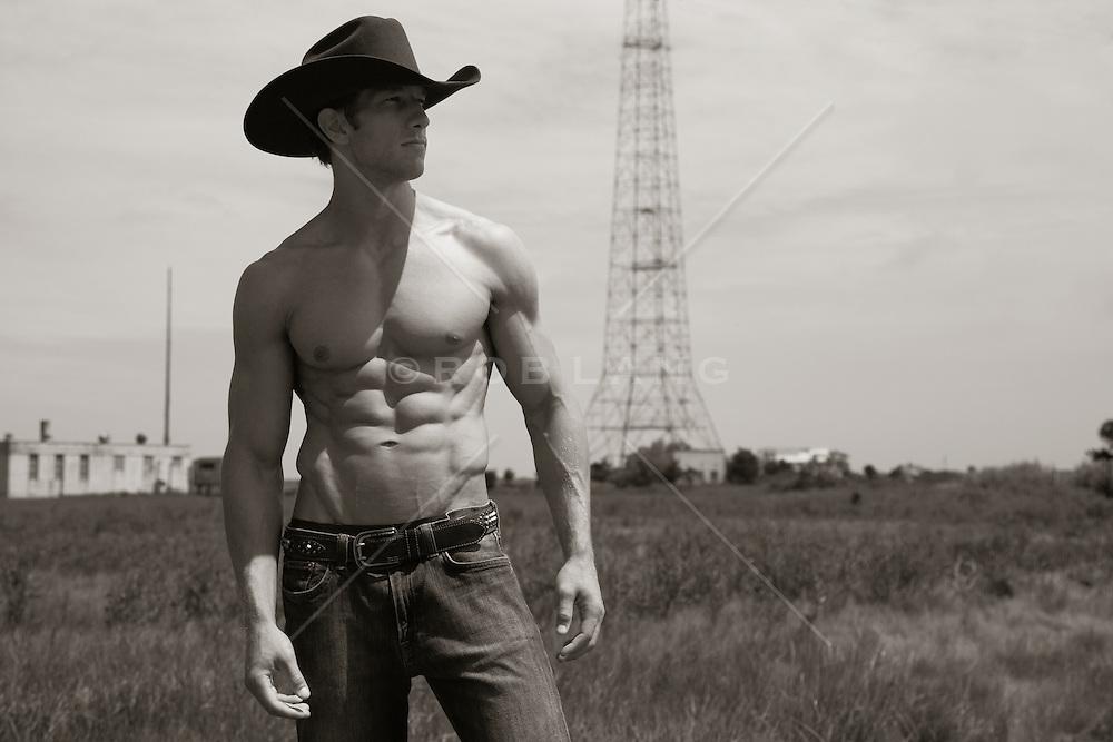 sexy shirtless cowboy outdoors