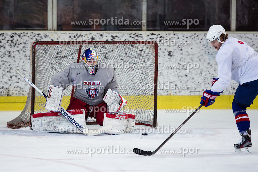 Luka Gracnar and Anze Kopitar at first practice of Slovenian National Ice Hockey team before EIHC tournament in Ljubljana, on November 5, 2012 in Ledena dvorana Bled, Bled, Slovenia. (Photo by Matic Klansek Velej / Sportida.com)