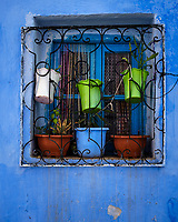 CHEFCHAOUEN, MOROCCO - CIRCA MAY 2018: Typical wall and window of the streets of Chefchaouen