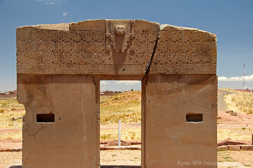 South America, Bolivia, Tiwanaku. Gate of the Sun at Pre-Columbian archaeological site of Tiwanaku, a UNESCO World Heritage Site.