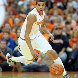 Syracuse Orange guard MICHAEL CARTER-WILLIAMS (1) races up court with the ball after making the steal against the Princeton Tigers in the second half at the Carrier Dome in Syracuse, New York. Syracuse defeated Princeton 73-53.