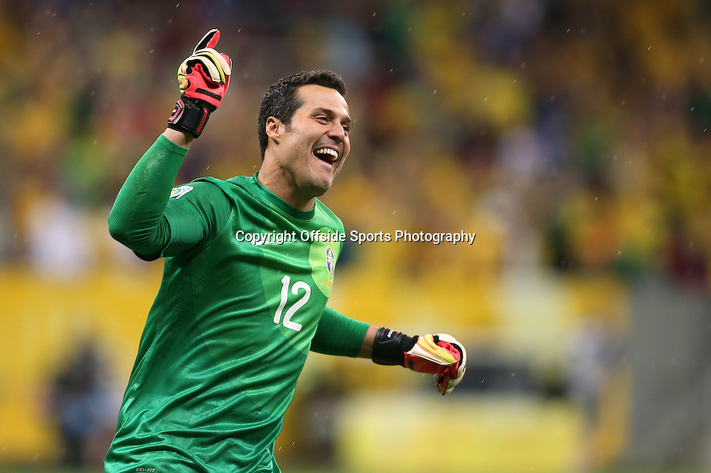 15th June 2013 - FIFA Confederations Cup 2013 - Brazil v Japan - Brazil goalkeeper Julio Cesar celebrates their 3rd goal - Photo: Simon Stacpoole / Offside.