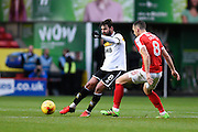 Port Vale midfielder Paulo Tavares (8) looks to release the ball under pressure from Charlton Athletic midfielder Andrew Crofts (8) during the EFL Sky Bet League 1 match between Charlton Athletic and Port Vale at The Valley, London, England on 19 November 2016. Photo by David Charbit.