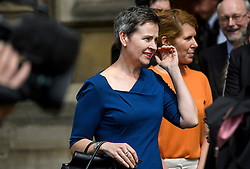 © London News Pictures. 09/05/2016. London, UK.  Labour MP MARY CREAGH outside the Houses of Parliament in London  to greet new MPs Chris Elmore and Gill Furniss following elections last week. Photo credit: Ben Cawthra/LNP