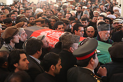 61197473<br /> Afghan officials carry the coffin of Afghan Vice President Marshal Mohammad Qasim Fahim, during his funeral ceremony at the Presidential Palace in Kabul, Afghanistan on March 11, 2014. The state funeral service for Afghan First Vice President Marshal Mohammad Qasim Fahim was held amid tight security in the Presidential Palace on Tuesday, 11th March 2014. Picture by  imago / i-Images<br /> UK ONLY