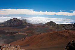 Landscape view of volcanic mountains, Leleiwi Overlook, Haleakala National Park, Maui, Hawaii, United States of America
