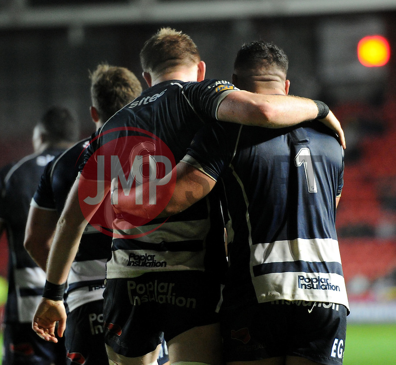 Joe Joyce and Ellis Genge of Bristol Rugby after Ellis Genge scored his fourth try - Mandatory by-line: Paul Knight/JMP - Mobile: 07966 386802 - 11/12/2015 -  RUGBY - Ashton Gate Stadium - Bristol, England -  Bristol Rugby v Bedford Blues - British and Irish Cup