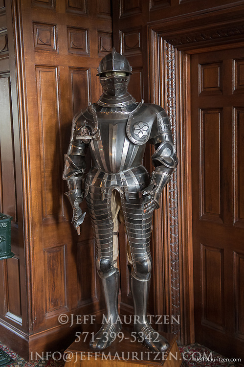 Suite of armor inside Ashford Castle, a 13th century castle turned into a 5 star luxury hotel.