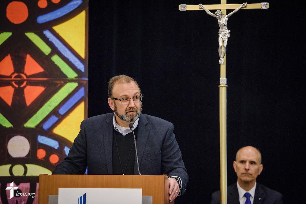The Rev. Bart Day, executive director of LCMS Office of National Mission, introduces Dr. George Delgado, the medical director of the Abortion Pill Reversal program and the associate medical director of The Elizabeth Hospice, during the 2017 LCMS Life Conference on Saturday, Jan. 28, 2017, in Arlington, Va. LCMS Communications/Erik M. Lunsford