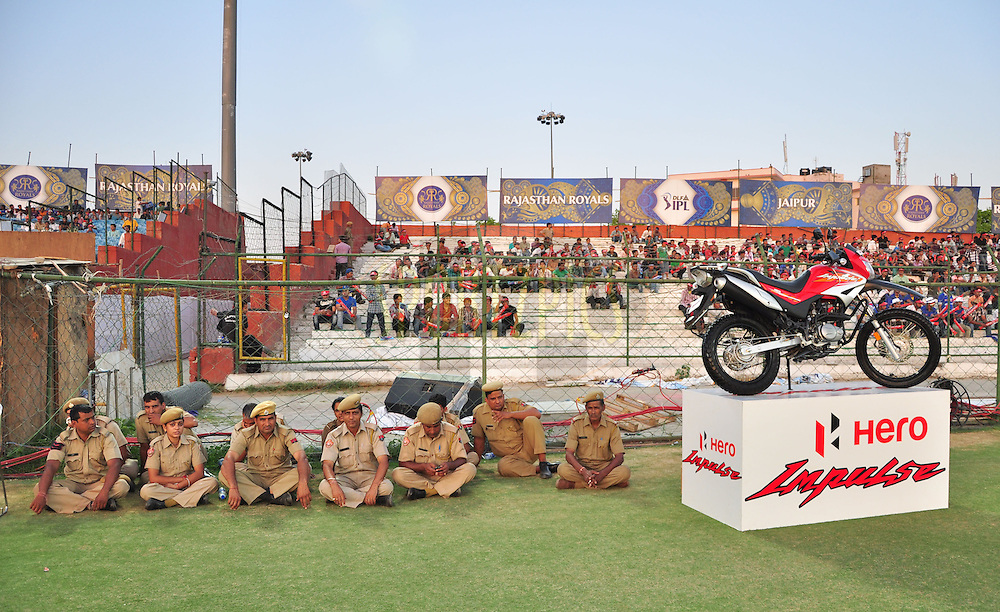 Idian policeon ground during match 43 of the the Indian Premier League ( IPL) 2012  between The Rajasthan Royals and the Delhi Daredevils held at the Sawai Mansingh Stadium in Jaipur on the 1st May 2012..Photo by Arjun Panwar/IPL/SPORTZPICS