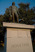 Statue of General William Moultrie at White Point Gardens in historic Charleston, SC. Moultrie, known as the Swamp Fox, held off British invaders in the first decisive victory during the Revolutionary War.