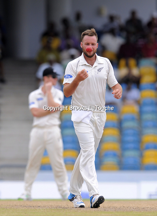 New Zealand bowler Mark Craig ready to bowl during day two of the Third and Final Test West Indies v New Zealand at Kensington Oval, Barbados.<br /> Photo: Randy Brooks/www.photosport.co.nz