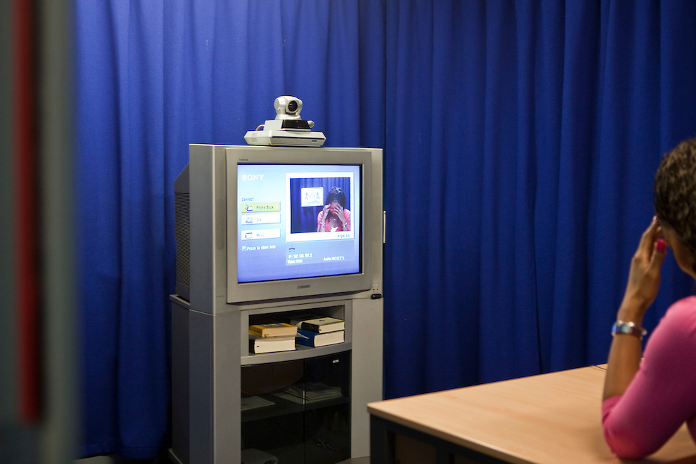A prisoner taking part in a live video link with court. HMP Holloway, the main womens prison in London.