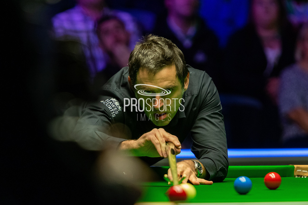 Day 3 of the 19.com World Snooker Home Nations Scottish Open. Action from the Evening session Ronnie O'Sullivan vs James Cahill during the World Snooker Scottish Open at the Emirates Arena, Glasgow, Scotland on 11 December 2019.<br /> <br /> Ronnie O'Sullivan completes a century break in the 2nd frame of his match