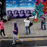 See No Evil graffiti even in central Bristol. Said to be the biggest urban art event of it's kind in Europe which brought over 70 artists from USA, France, Australia and around the UK to decorate Nelson Streets former gray and empty offices and former court houses. Even the back of the police station was painted on.