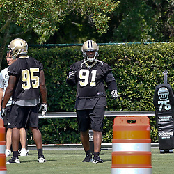 June 5, 2012; Metairie, LA, USA; New Orleans Saints defensive end Will Smith (91) during a minicamp session at the team's practice facility. Mandatory Credit: Derick E. Hingle-US PRESSWIRE