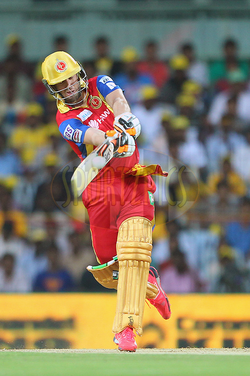 AB De Villiers of the Royal Challengers Bangalore  during match 37 of the Pepsi IPL 2015 (Indian Premier League) between The Chennai Superkings and The Royal Challengers Bangalore held at the M. A. Chidambaram Stadium, Chennai Stadium in Chennai, India on the 4th May April 2015.<br /> <br /> Photo by:  Ron Gaunt / SPORTZPICS / IPL