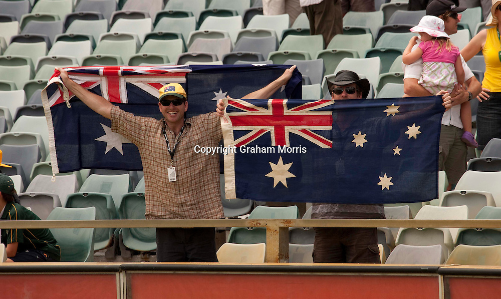Local fans celebrate after England lose the third Ashes test match against Australia at the WACA (West Australian Cricket Association) ground in Perth, Australia. Photo: Graham Morris (Tel: +44(0)20 8969 4192 Email: sales@cricketpix.com) 19/12/10