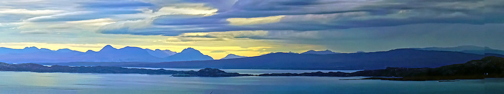 Panoramic View of Scotland and Scottish Islands from the Isle of Skye, at sunset.