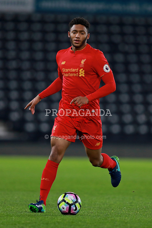 DERBY, ENGLAND - Monday, November 28, 2016: Liverpool's Joe Gomez in action against Derby County during the FA Premier League 2 Under-23 match at Pride Park. (Pic by David Rawcliffe/Propaganda)