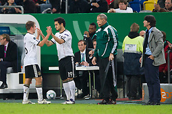 11.10.2011, Esprit Arena, Duesseldorf, GER, UEFA EURO 2012 Qualifikation, Deutschland (GER) vs Belgien (BEL), im Bild Philipp Lahm (#16 GER, Bayern Muenchen), Ilkay Guendogan / Gündogan (#19 GER, Borussia Dortmund), Joachim Jogi Löw / Loew (Bundestrainer / Trainer GER) // during the UEFA Euro 2012 qualifying round Germany vs Belgium  at Esprit Arena, Duesseldorf 2011-10-11 EXPA Pictures © 2011, PhotoCredit: EXPA/ nph/  Kurth       ****** out of GER / CRO  / BEL ******