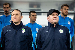Igor Benedejcic, assistant coach and Matjaž Kek, head coach of Slovenia singing National anthem during football match between National teams of Slovenia and North Macedonia in Group G of UEFA Euro 2020 qualifications, on March 24, 2019 in SRC Stozice, Ljubljana, Slovenia. Photo by Vid Ponikvar / Sportida