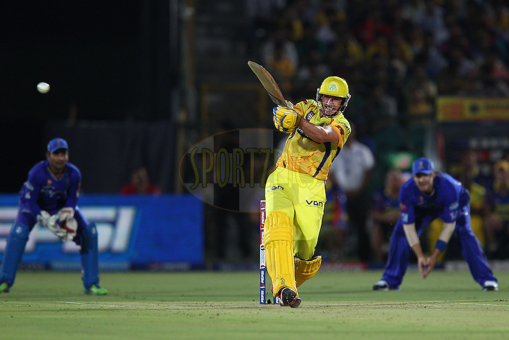 Michael Hussey hits out for four during match 61 of the Pepsi Indian Premier League ( IPL) 2013  between The Rajasthan Royals and the Chennai SUperkings held at the Sawai Mansingh Stadium in Jaipur on the 12th May 2013..Photo by Ron Gaunt-IPL-SPORTZPICS ..Use of this image is subject to the terms and conditions as outlined by the BCCI. These terms can be found by following this link:..http://www.sportzpics.co.za/image/I0000SoRagM2cIEc