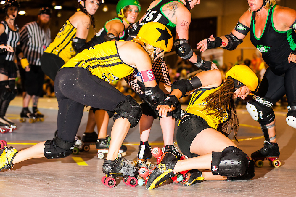 2014-08-30: Ohio Roller Girls host the last bout of the home season with a doubleheader against &uuml;ber-rivals, Steel City Roller Derby of Pittsburgh, PA. at Louche Building - Ohio Expo Center in Columbus, Ohio. <br /> <br /> Mandatory credit: Dorn Byg/Byg Day LLC