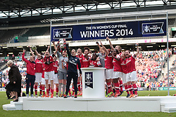 Arsenal Ladies celebrate with the FA Ladies Cup  - Photo mandatory by-line: Nigel Pitts-Drake/JMP - Tel: Mobile: 07966 386802 01/06/2014 - SPORT - FOOTBALL - LADIES - Stadium mk - Milton Keynes - Arsenal Ladies v Everton Ladies - The FA Women's Cup Final