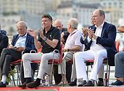 IAAF president Sebastian Coe  (left) and Prince Albert II aka Albert Alexandre Louis Pierre Grimald watch during the women's triple jump in the  Herculis Monaco in an IAAF Diamond League meet , Thursday, July 11, 2019, in Port Hercules, Monaco.(Jiro Mochizuki/Image of Sport)